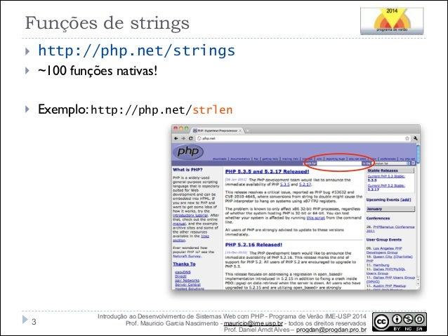 Strings, Arrays e Manipulação Datas em PHP Slide 3