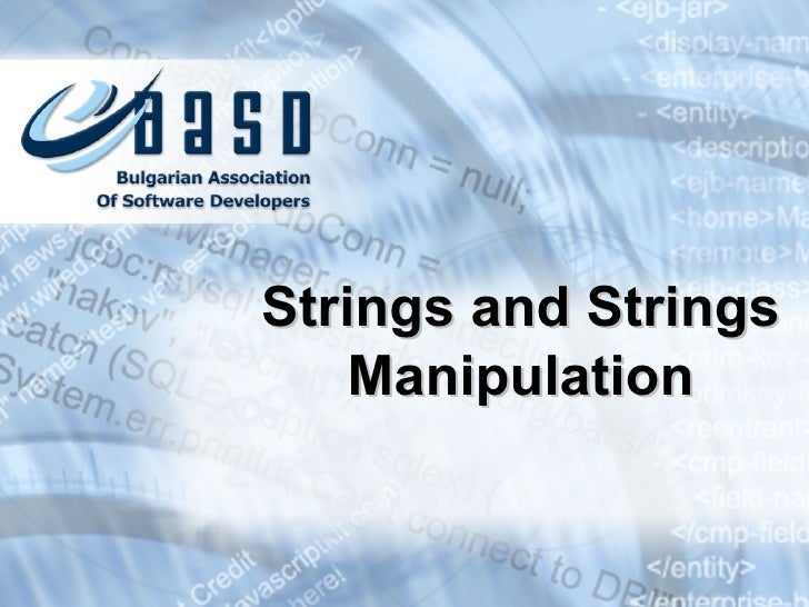 Strings and Strings Manipulation