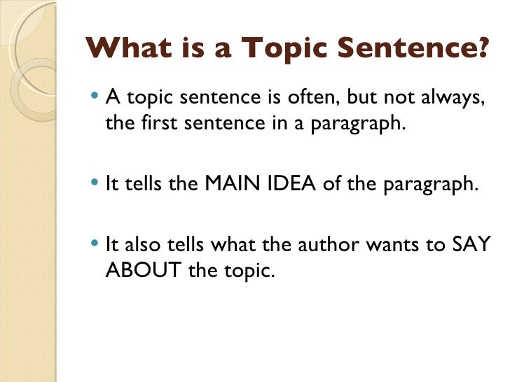 paragraph topic