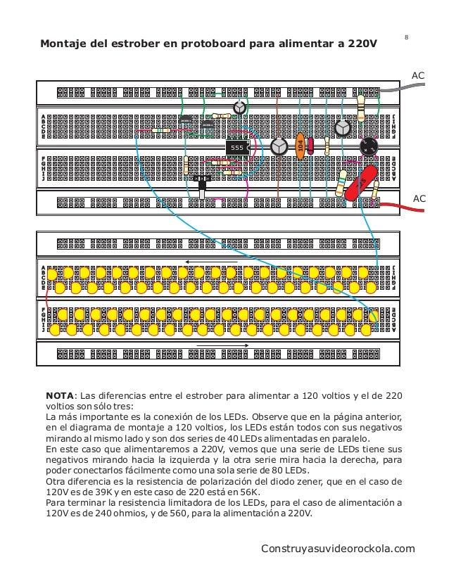 8Montaje del estrober en protoboard para alimentar a 220V                                                                 ...
