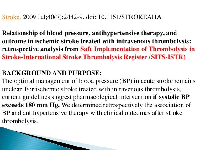 Interpretation and Implementation of Intensive Blood ...