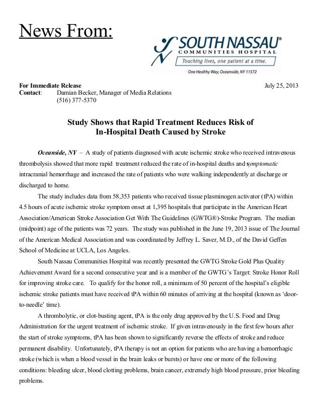 News From: For Immediate Release July 25, 2013 Contact: Damian Becker, Manager of Media Relations (516) 377-5370 Study Sho...