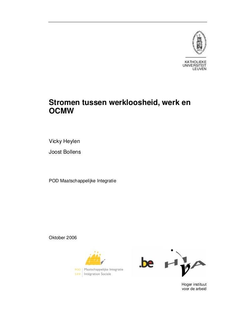 Stromen tussen werkloosheid werk en het ocmw - Kaart evenwicht tussen werk en ...