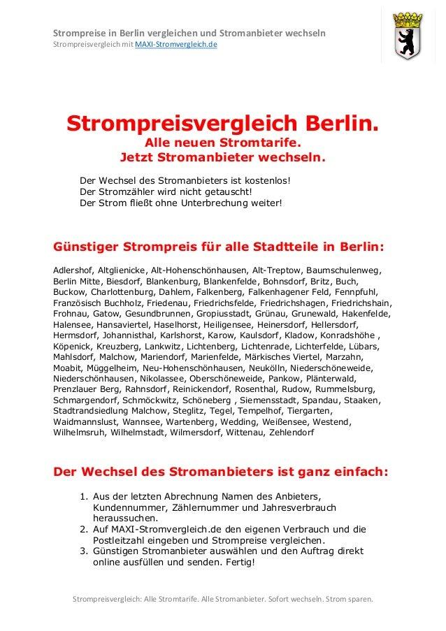 Strompreise in Berlin vergleichen und Stromanbieter wechseln Strompreisvergleich mit MAXI-Stromvergleich.de  Strompreisver...
