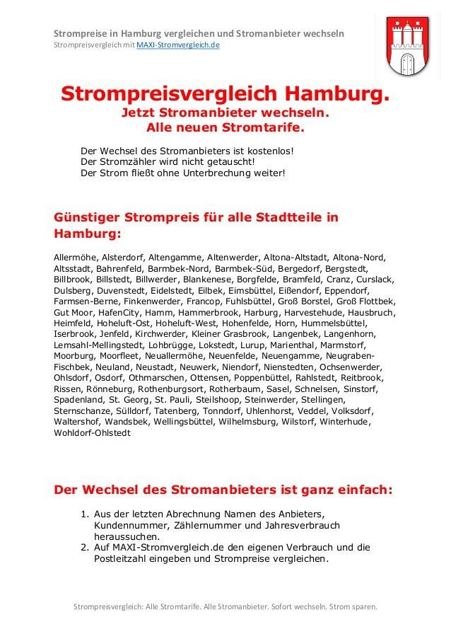 Strompreise in Hamburg vergleichen und Stromanbieter wechseln Strompreisvergleich mit MAXI-Stromvergleich.de  Strompreisve...
