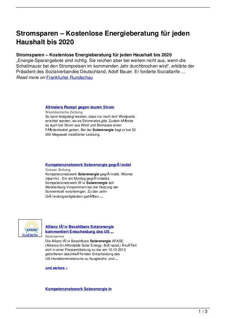 Stromsparen – Kostenlose Energieberatung für jedenHaushalt bis 2020Stromsparen – Kostenlose Energieberatung für jeden Haus...