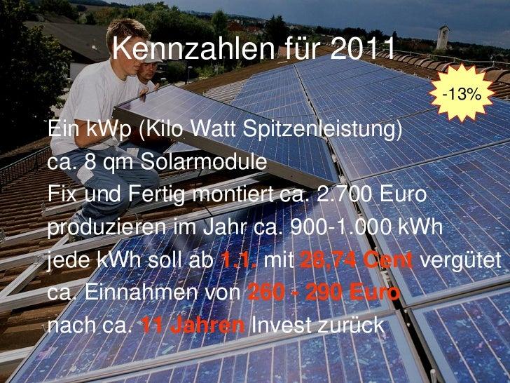 Kennzahlen der Photovoltaik10 qm Dachfläche1 kWpKosten ca. 5.000 Euro900 kW/h Ertrag im Jahrca. 450 Euro Ertrag im Jahr   ...