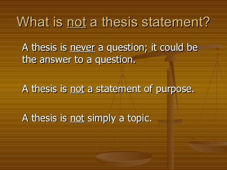 what is the purpose of a strong thesis statement What is a thesis statement a thesis statement is a sentence that states the topic and purpose of your paper a good thesis statement will direct the structure of your essay and will allow your reader to understand the ideas you will discuss within your paper.