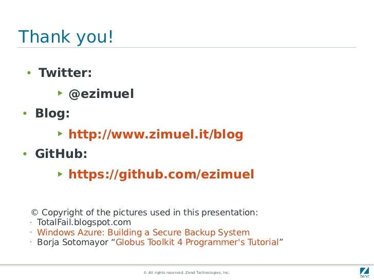 Thank you!●    Twitter:          ▶   @ezimuel●   Blog:          ▶   http://www.zimuel.it/blog●   GitHub:          ▶   http...