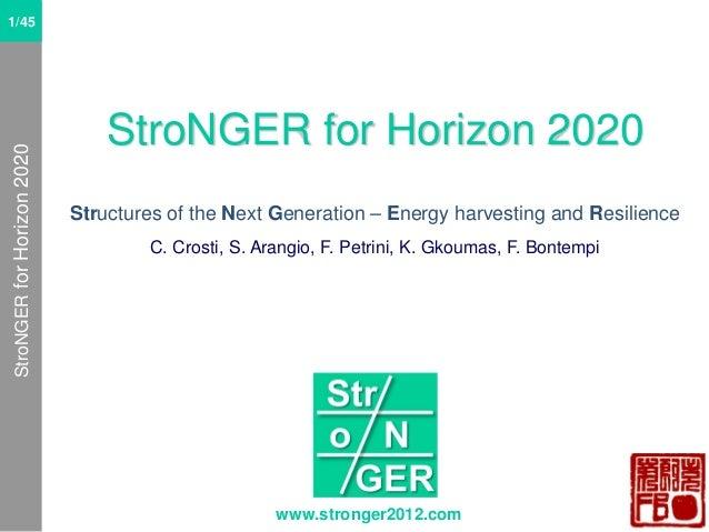 StroNGER for Horizon 2020  1/61 1/45 1/61  StroNGER for Horizon 2020 Structures of the Next Generation – Energy harvesting...