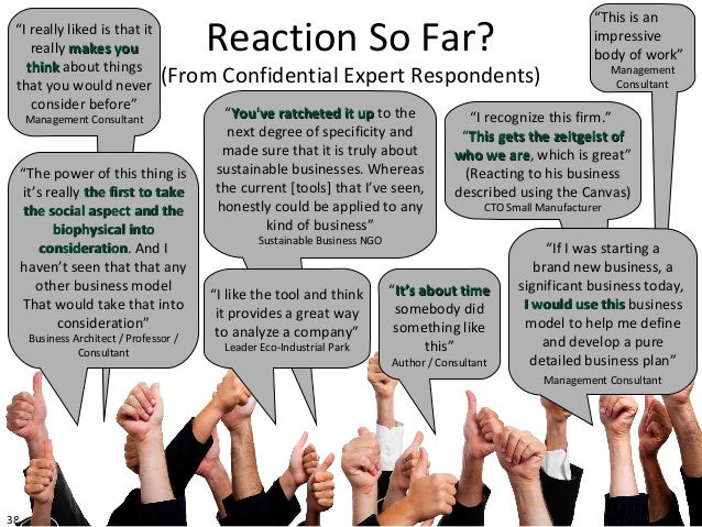 "38Reaction So Far?(From Confidential Expert Respondents)""I really liked is that itreally makes youmakes youthinkthink abou..."