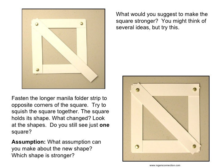 What would you suggest to make the square stronger?  You might think of several ideas, but try this. Fasten the longer man...