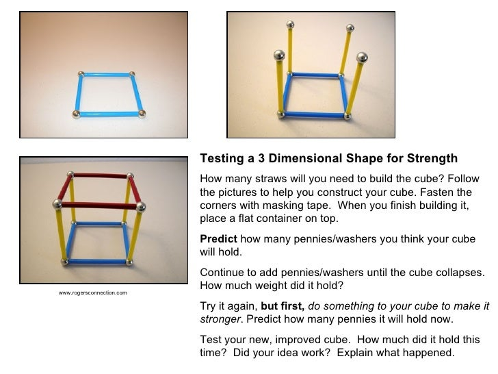 Testing a 3 Dimensional Shape for Strength   How many straws will you need to build the cube? Follow the pictures to help ...