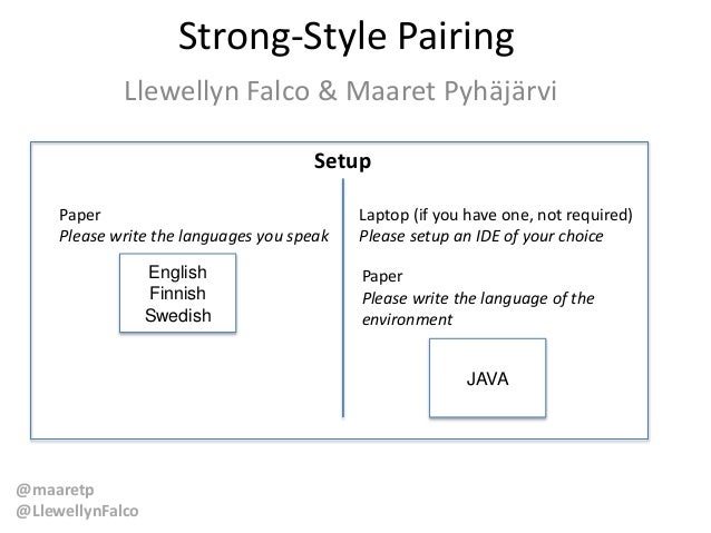 @maaretp @LlewellynFalco Strong-Style Pairing Llewellyn Falco & Maaret Pyhäjärvi Setup Paper Please write the languages yo...