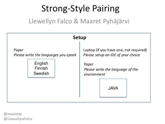 @maaretp @LlewellynFalco Strong-Style Pairing Llewellyn Falco & Maaret Pyhäjärvi Setup Paper Please write the languages yo...