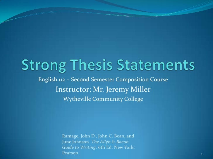Writing a Thesis Statement for a World Literature Paper--PowerPoint
