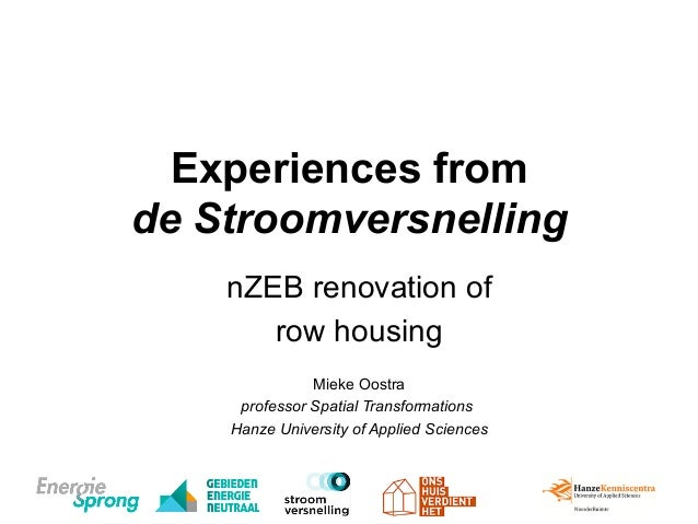 Experiences from de Stroomversnelling nZEB renovation of row housing Mieke Oostra professor Spatial Transformations Hanze ...