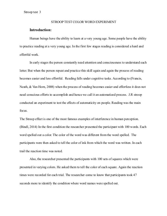 Essay On Importance Of Good Health Stroop Effect Research Paper Example Apa Style Healthy Foods Essay also Interesting Persuasive Essay Topics For High School Students Sample Of Apa Paper  Apa Sample Paper Apa Essay Papers Apa  English Essay About Environment