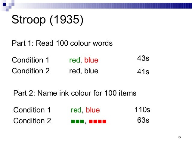 replication of the stroop effect Unclear whether the results globally supported semantic interference as the source of the stroop effect or whether the effect was contextually driven by the dmts task in experiment 1, a sequentially presented mts task with no retention interval was implemented and the results replicated the findings of sturz et al.