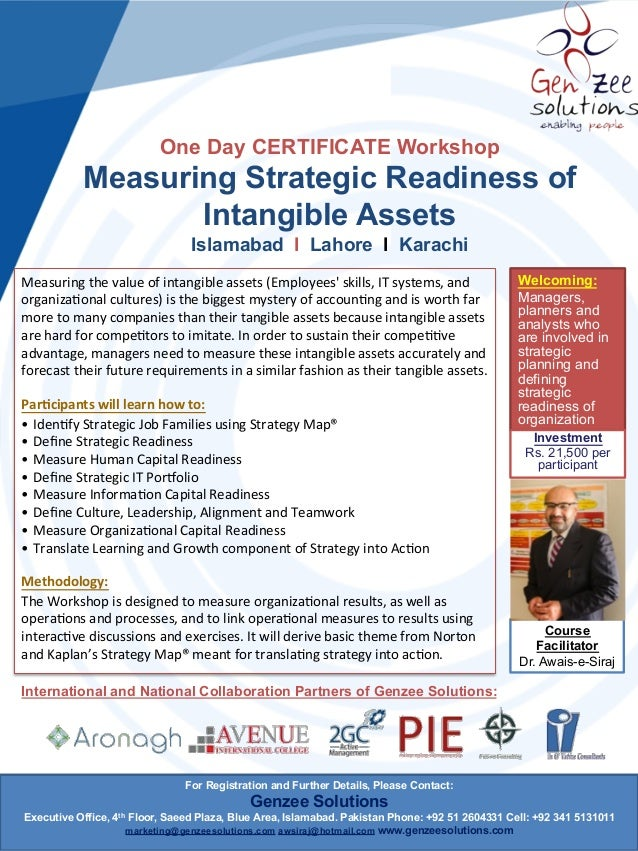 One Day CERTIFICATE Workshop  Measuring Strategic Readiness of Intangible Assets Islamabad l Lahore l Karachi Measuring  ...