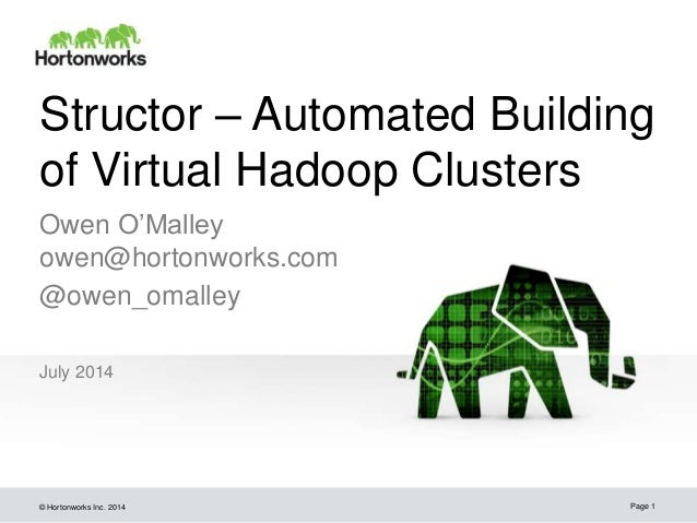© Hortonworks Inc. 2014 Structor – Automated Building of Virtual Hadoop Clusters July 2014 Page 1 Owen O'Malley owen@horto...