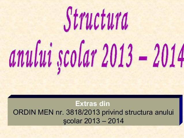 Extras din ORDIN MEN nr. 3818/2013 privind structura anului şcolar 2013 – 2014