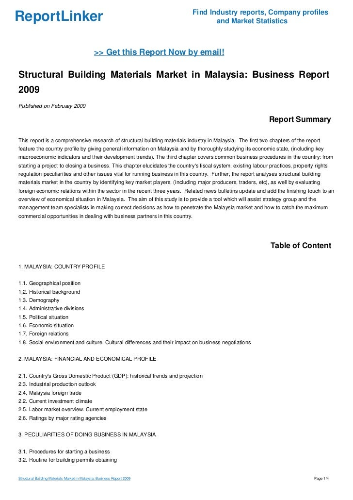 Structural Building Materials Market in Malaysia: Business Report 2009