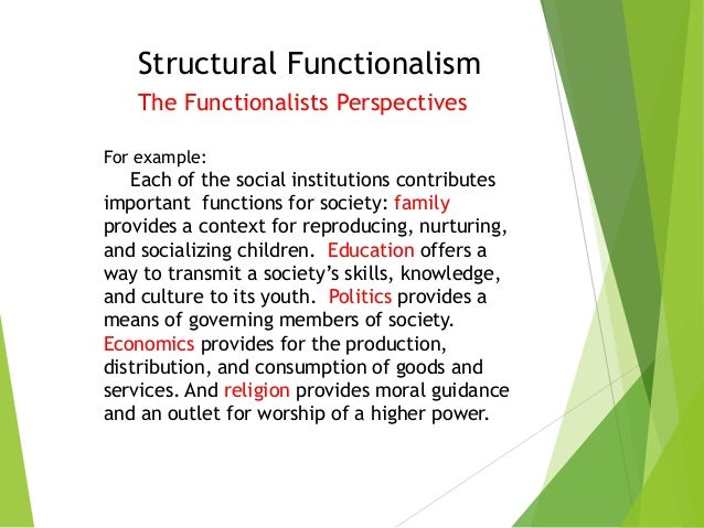 structural functionalism good examples during society