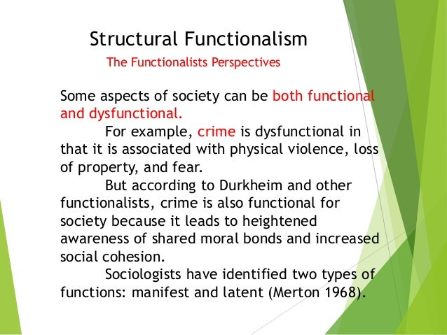 examples of functionalist perspective in sociology