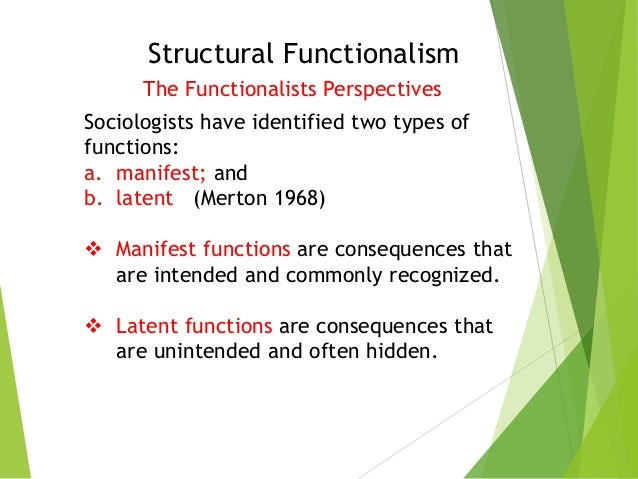manifest latent function and dysfunctions Please note that the content of this book primarily consists of articles available from wikipedia or other free sources online please note that the content of this book primarily consists of articles available from wikipedia or other free sources online manifest and latent functions are social scientific concepts first clarified for sociology by robert k merton diligio, 2000.