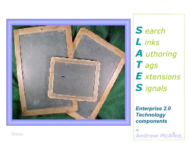 Slates S   earch L  inks A   uthoring T  ags E  xtensions S  ignals Enterprise 2.0 Technology components ~  Andrew McAfee,