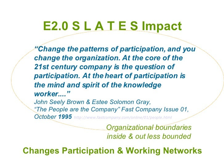 """E2.0 S L A T E S Impact Changes Participation & Working Networks """" Change the patterns of participation, and you change th..."""