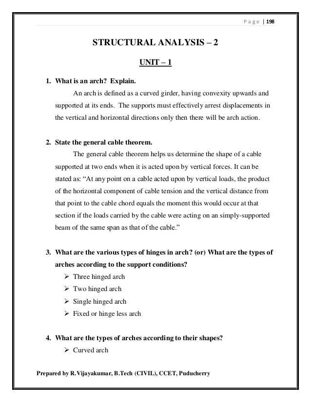 P a g e | 198 Prepared by R.Vijayakumar, B.Tech (CIVIL), CCET, Puducherry STRUCTURAL ANALYSIS – 2 UNIT – 1 1. What is an a...