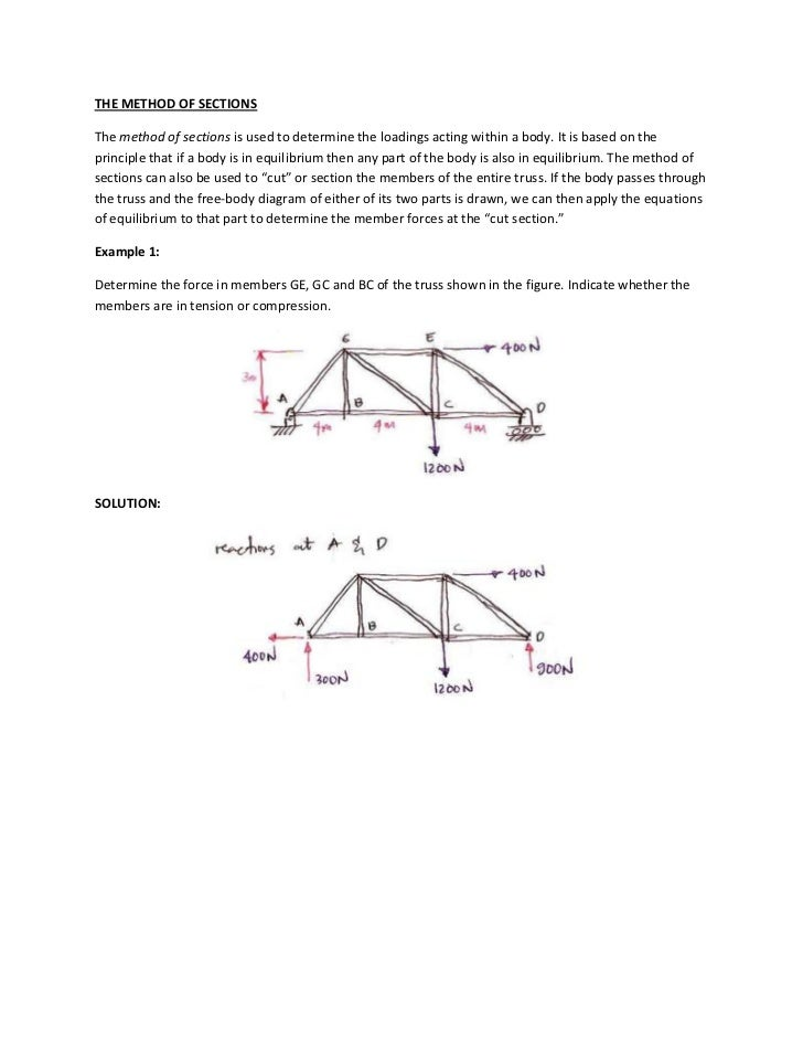 THE METHOD OF SECTIONSThe method of sections is used to determine the loadings acting within a body. It is based on thepri...
