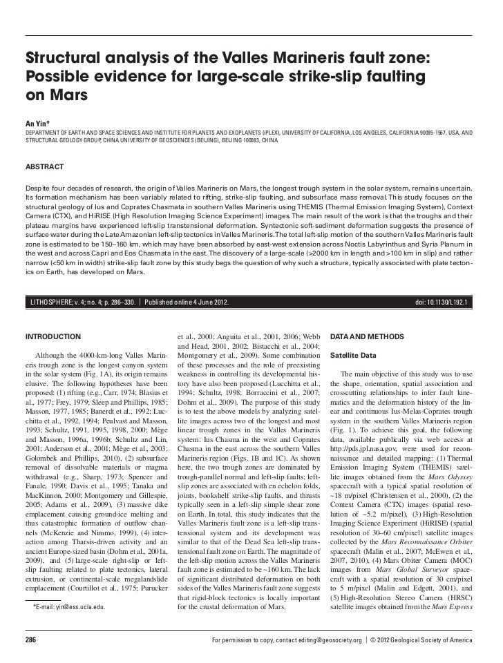 Structural analysis of the Valles Marineris fault zone:Possible evidence for large-scale strike-slip faultingon MarsAn Yin...