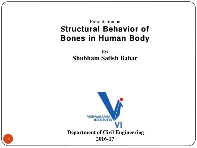 1 Presentation on Structural Behavior of Bones in Human Body By: Shubham Satish Babar Department of Civil Engineering 2016...