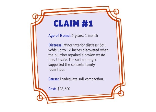 Age of Home: 9 years, 1 month Distress: Minor interior distress; Soil voids up to 12 inches discovered when the plumber re...