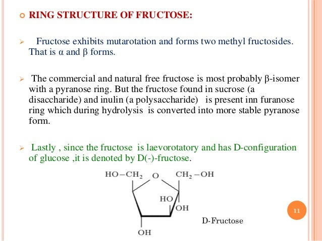 10 11 ring structure of fructose
