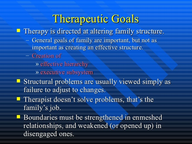 structural therapy Structural family therapy (sft) is an approach that focuses on the family structure, its interactions, and its hierarchy—in order to influence change in individuals and the entire family.
