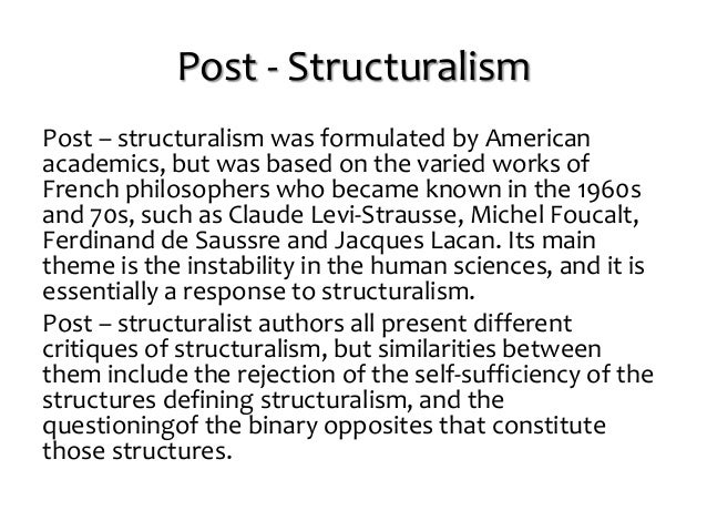 post structuralism Post-structuralism explained in simple terms with its main ideas, theory, practice, key people post structuralism is explained with questions & answers.