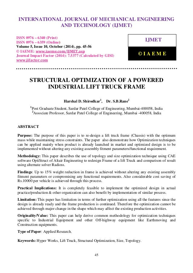 Structural optimization of a powered industrial lift truck frame