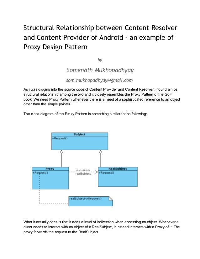 Structural Relationship between Content Resolver and Content Provider of Android - an example of Proxy Design Pattern by  ...