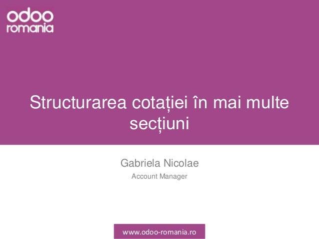 Structurarea cotației în mai multe secțiuni Gabriela Nicolae Account Manager www.odoo-romania.ro