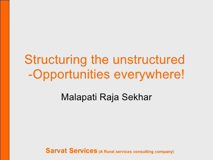 Structuring the unstructured  -Opportunities everywhere! Malapati Raja Sekhar
