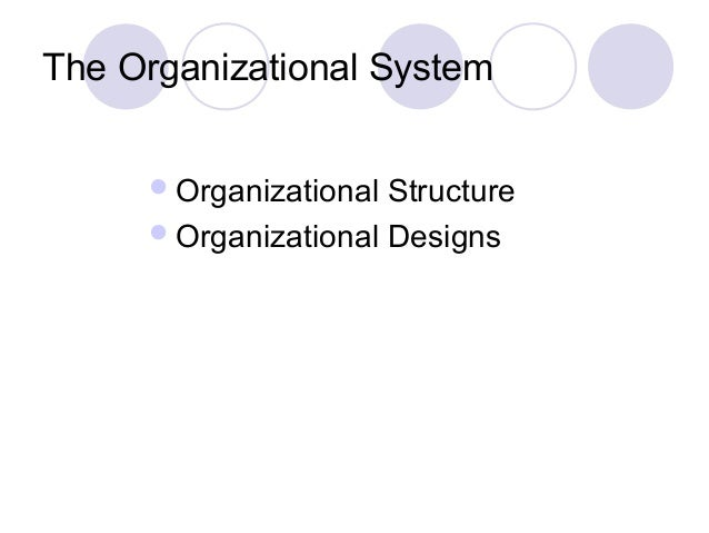 The Organizational System      Organizational Structure      Organizational Designs