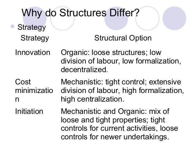 high formalisation and centralisation Centralization, decentralization & formalization 1 prepared by,malay m patel 2 centralization is the degree to which decisionmaking takes place at upper levels of theorganization if top managers make key decision with littleinput from below, then the organization ismore centralized keep in mind that centralization is relative,not.