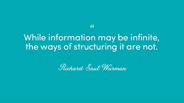"""@ redsesame #confabcentral 12 While information may be infinite, the ways of structuring it are not. Richard Saul Wurman •"""""""