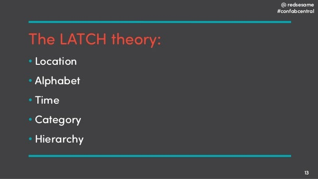 @ redsesame #confabcentral 13 The LATCH theory: • Location • Alphabet • Time • Category • Hierarchy