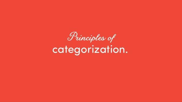 @ redsesame #confabcentral 26 categorization. Principles of