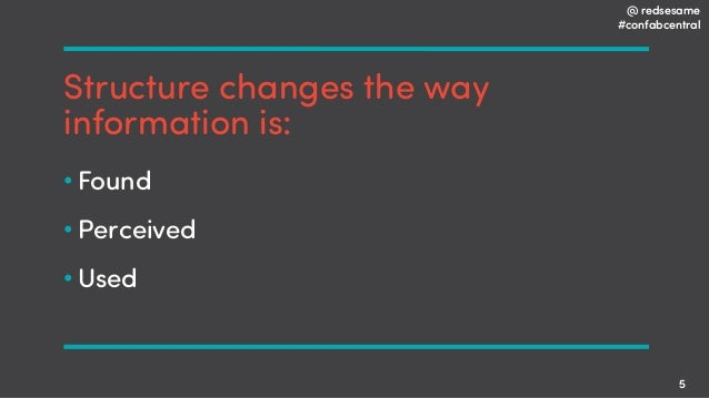 @ redsesame #confabcentral 5 Structure changes the way information is: • Found • Perceived • Used